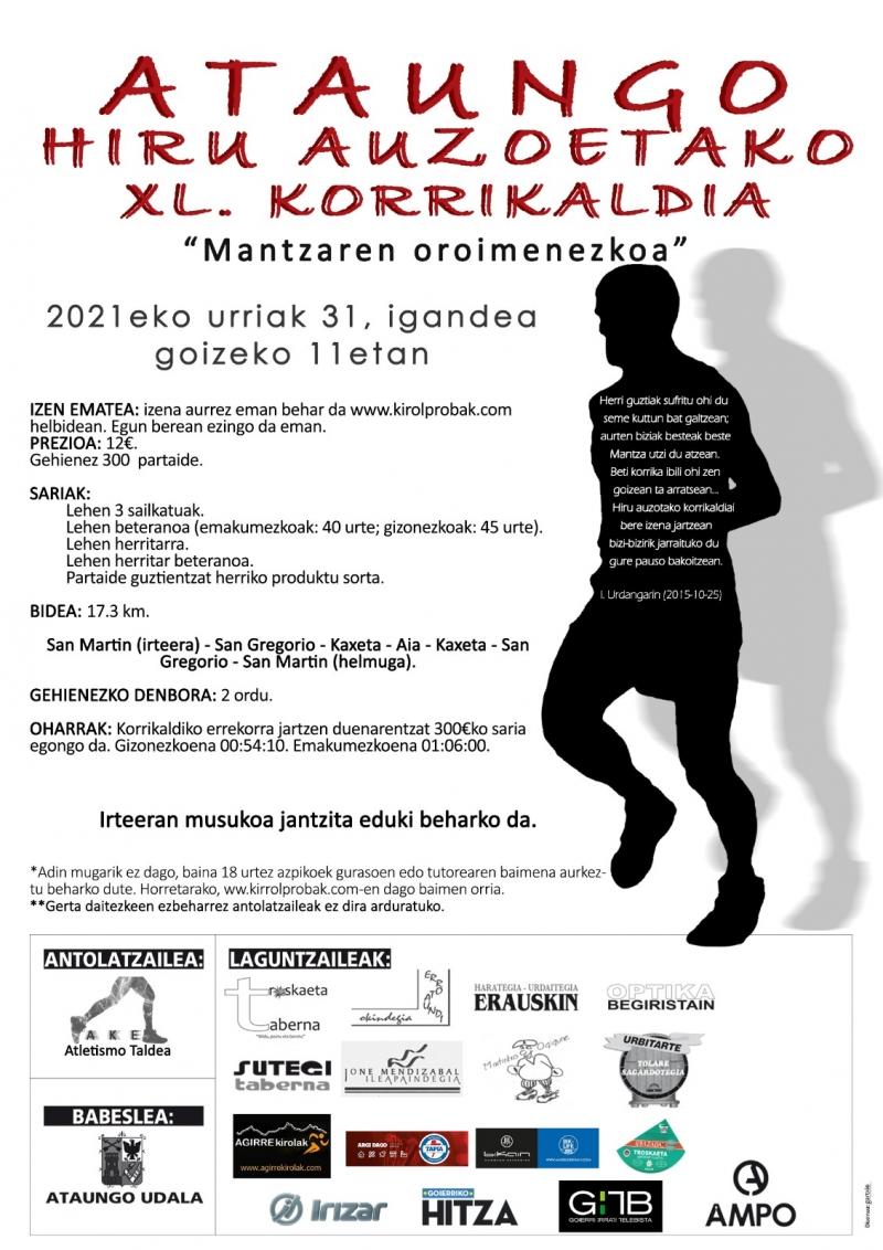 ATAUNGO HIRU AUZOTAKO KORRIKALDIA XL MANTZAREN OROIMENEZKOA - Inskriba zaitez